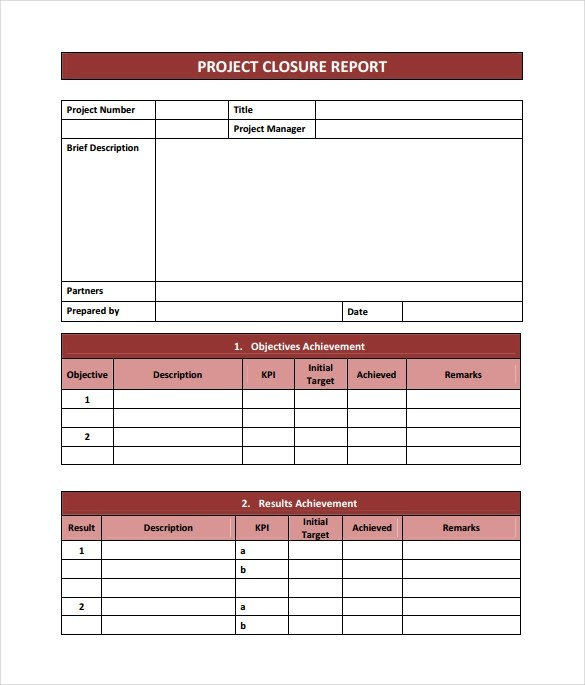 9 Sample Project Closure Report Template Examples Sample