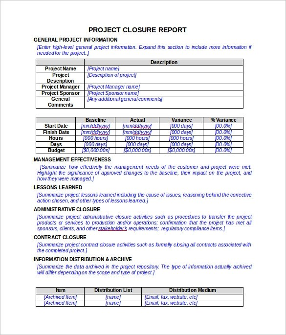 9 Sample Project Closure Report Template Examples  Sample Templates