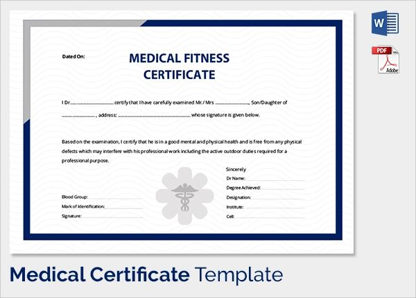 medical certificate fit to work sample