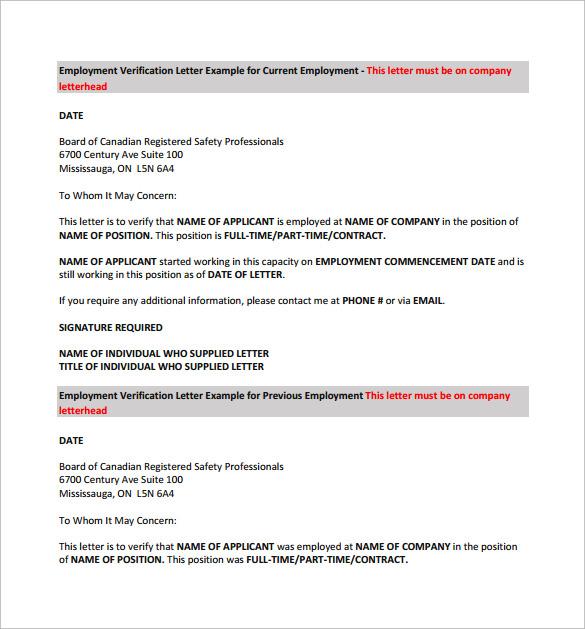 employment verification letter for visa