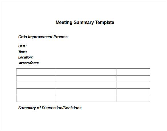 12 Meeting Summary Templates Sample Templates