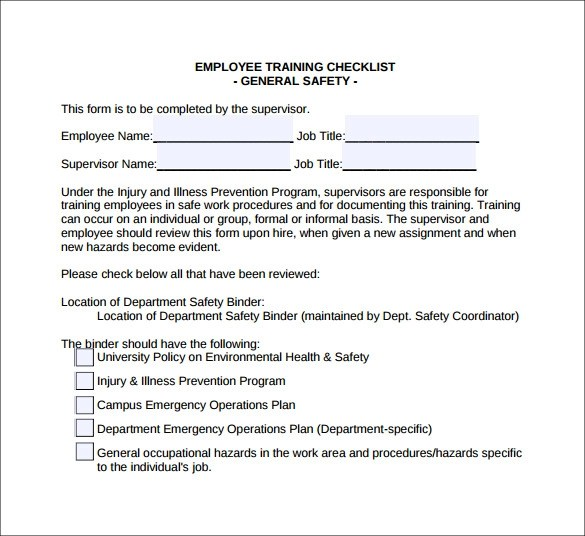 Training Checklist Template  7 Download Documents In PDF Word  Sample Templates