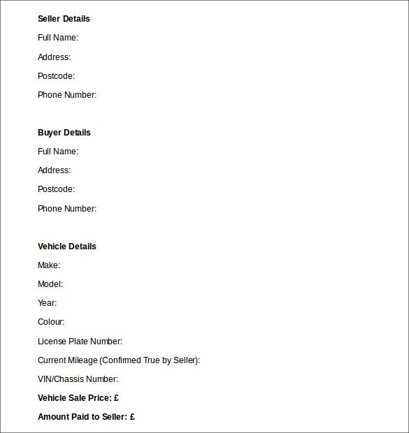Used Car Purchase Agreement Form Printable Sample Vehicle Bill Of