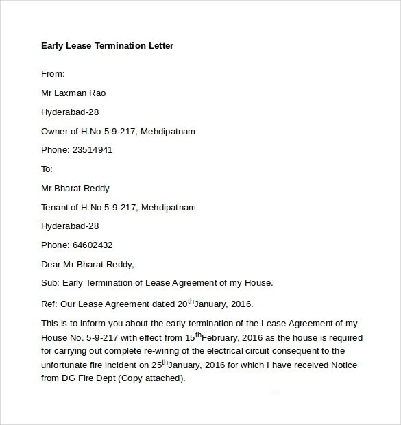 Early Lease Termination Letters 9 Download Free
