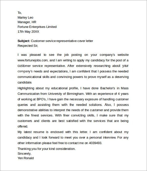 Customer Service Cover Letters 8 Download Free