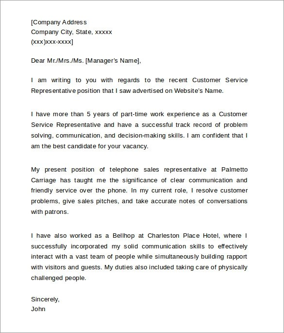 Customer Service Cover Letters  8 Download Free Documents in PDF  Word