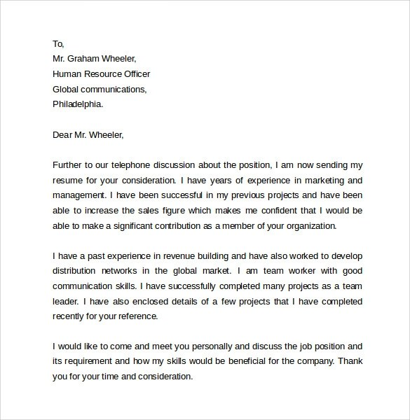 Simple Cover Letter Examples  10 Download Free Documents in PDF Word