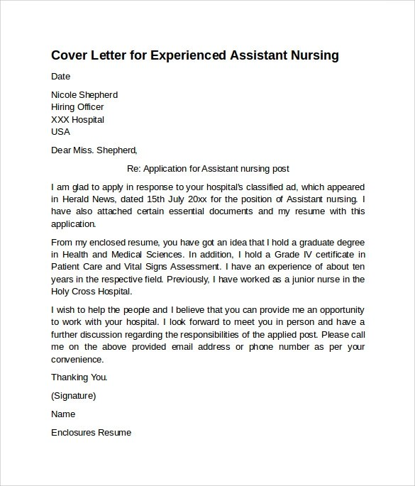 10 Sample Nursing Cover Letter Examples To Download