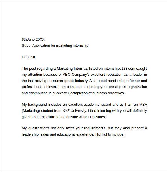 sample cover letters internship