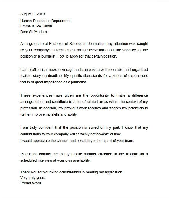 cover letter sample journalism