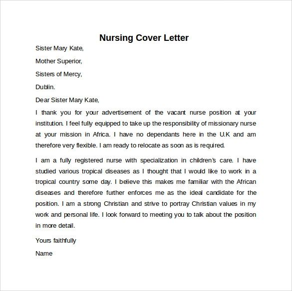 example of a nursing cover letter