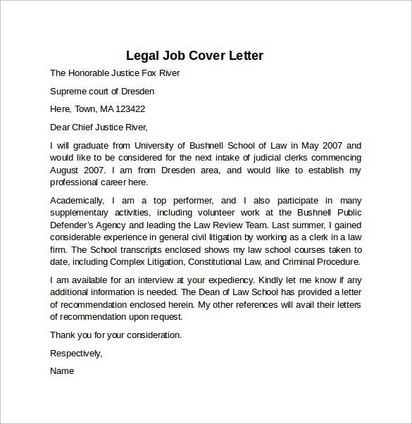 Legal Job Cover Letter