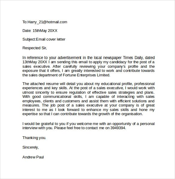 Email Cover Letter Example  10 Download Free Documents In PDF Word  Sample Templates