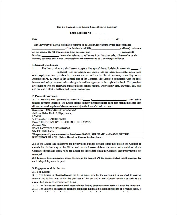 Sample Room Lease Agreement  10 Free Documents Download In Word PDF