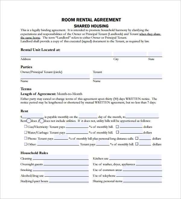 """The term """"landlord"""" refers to either homeowner or principal tenant. Free 10 Sample Room Lease Agreement Templates In Ms Word Pdf"""