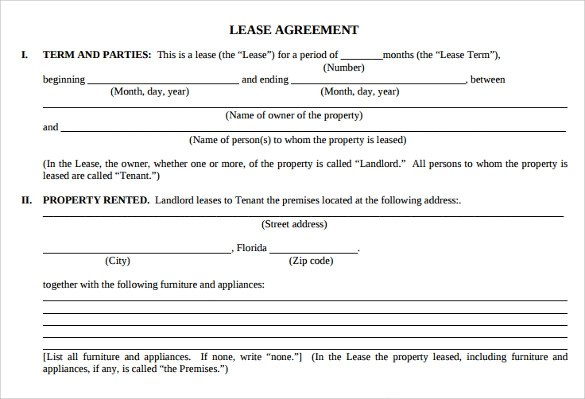 7 Sample Apartment Lease Agreements Sample Templates