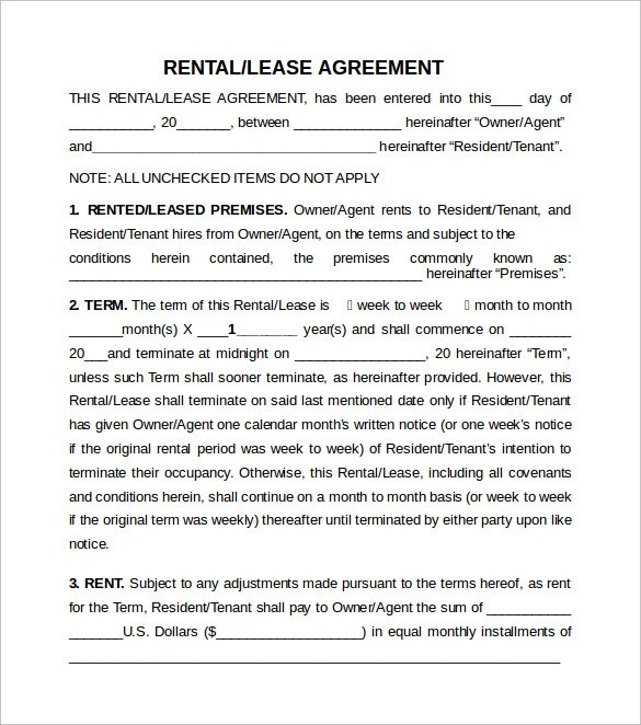Sample Rental Lease Agreement 9 Free Documents In PDF Word