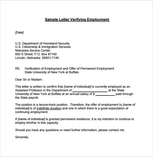 Employment Verification Letter 7 Download Documents In
