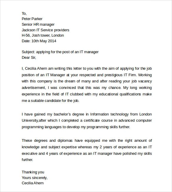 Cover Letter Technology Leader