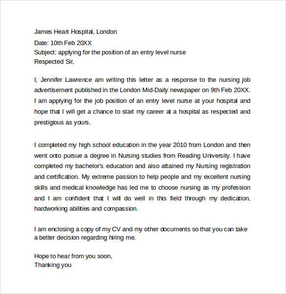 cover letter for new graduate nurse