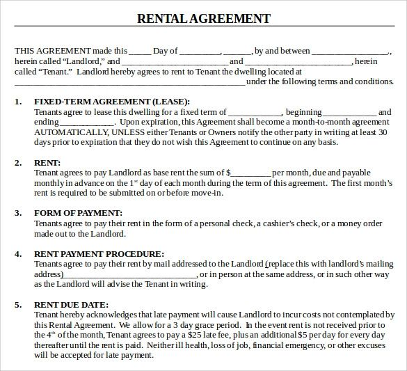 simple blank rental agreement