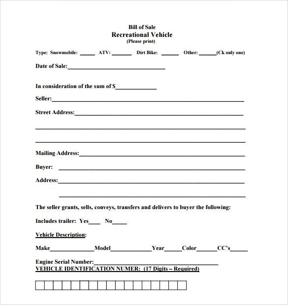 motorcycle bill of sale template free download