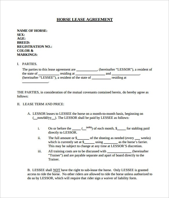 Horse Lease Agreement  10 Download Free Documents in PDF