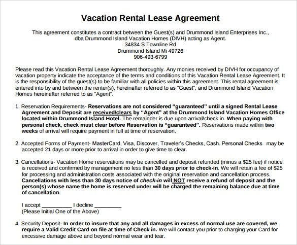 Vacation Rental Agreement 8Download Documents Free In PDF WORD