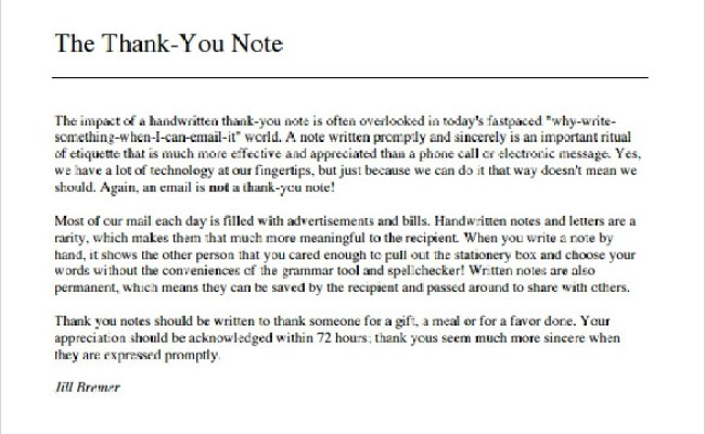 Sample Thank You Note To Boss 6 Documents In Pdf Word