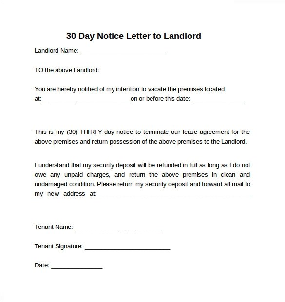 30 Day Notice Letter To Landlord Sample | Docoments Ojazlink