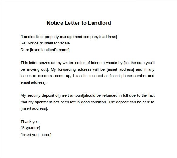 10 Sample 30 Days Notice Letters to Landlord In Word
