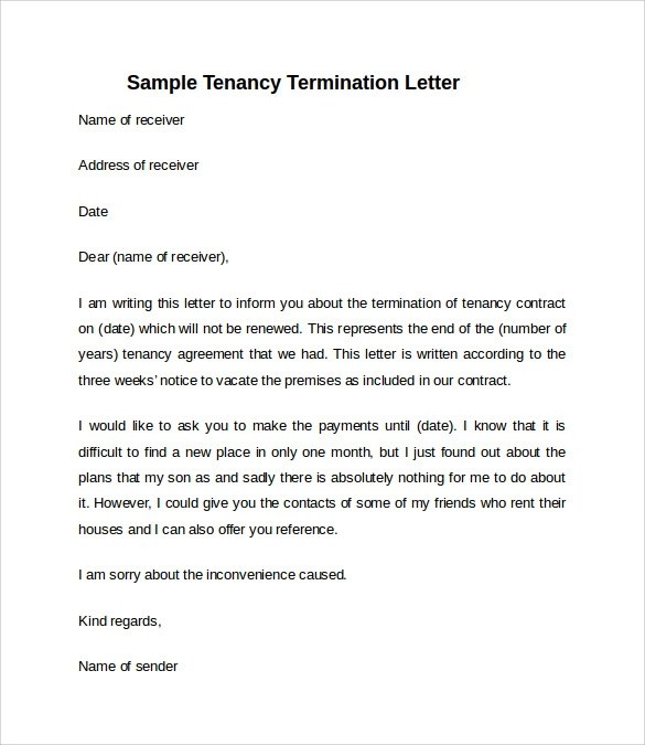 Simple Notice To Vacate Letter