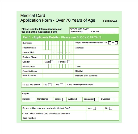 Medical Application Form  7 Free Samples Examples Format