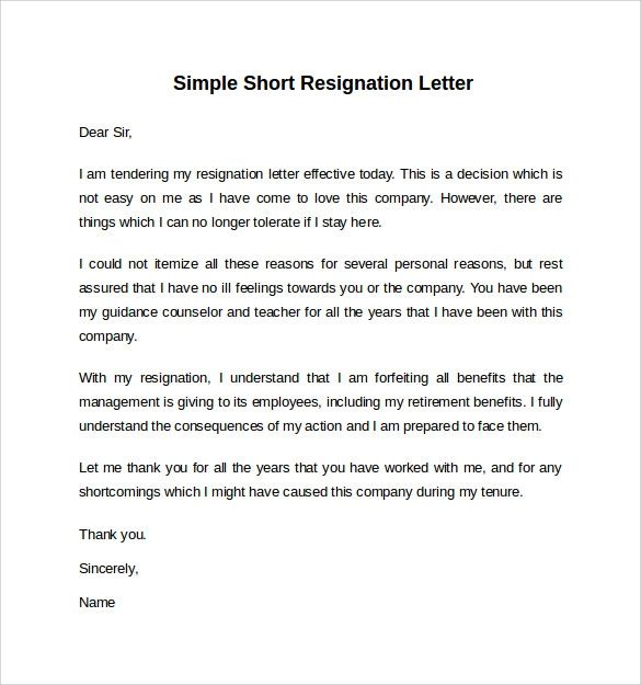 simple letter of resignation