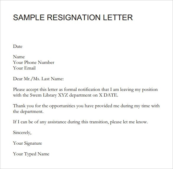 Samples For Resignation Letter With Notice Period | Docoments Ojazlink