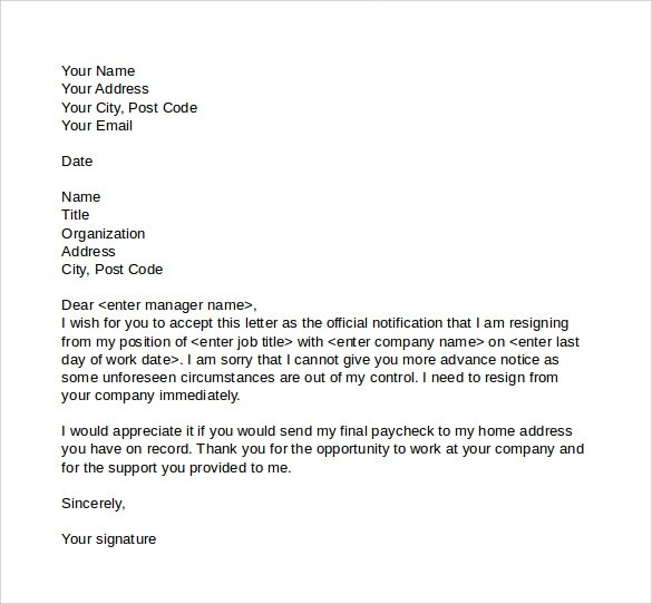 Resignation Letter Format With Notice Period Doc | Travel ...
