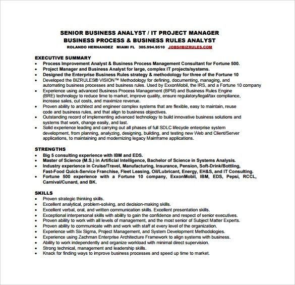 Sample Business Analyst Resume Pdf Employment Application Form