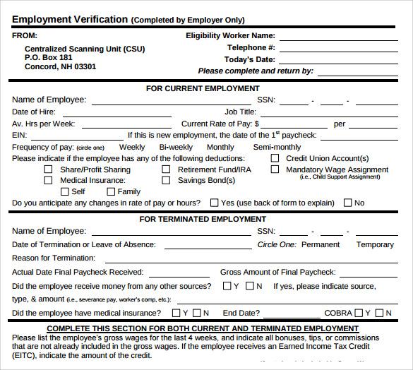 employment verification letter templates