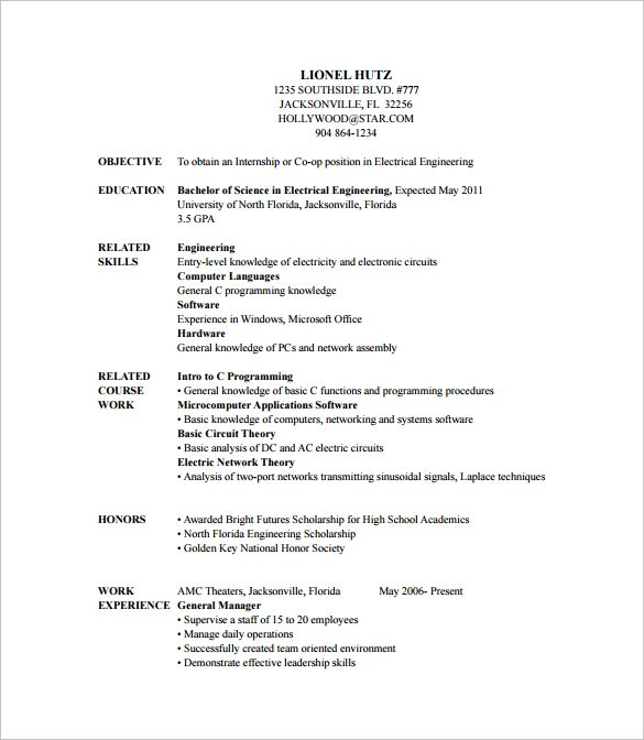 resume objective samples for entry level