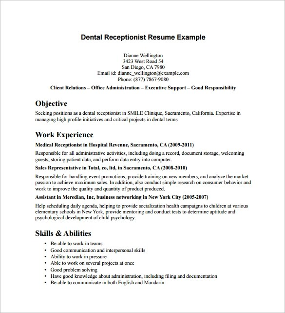 Sample Receptionist Resume 9 Download Free Documents In PDF Word