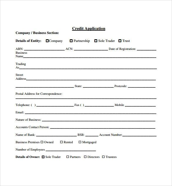 simple credit application form template