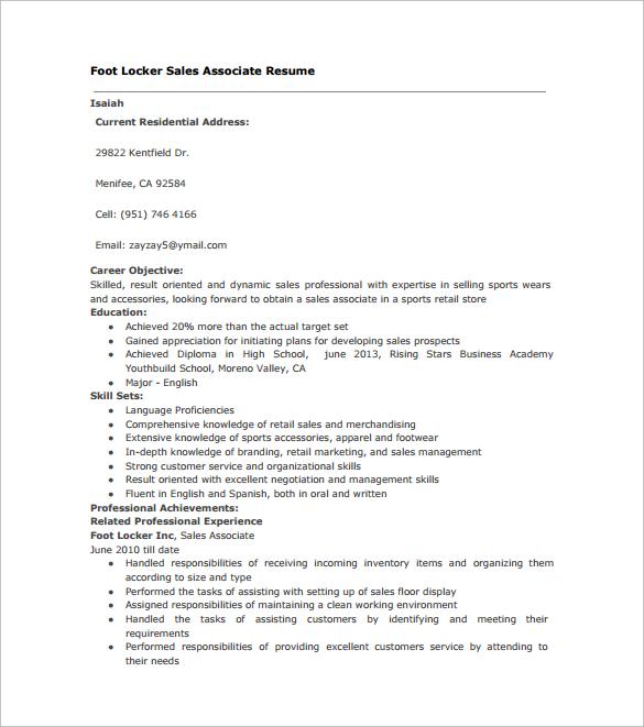 resume sample sales associate