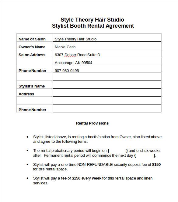 Sample Booth Rental Agreement Hair Salon Best Create