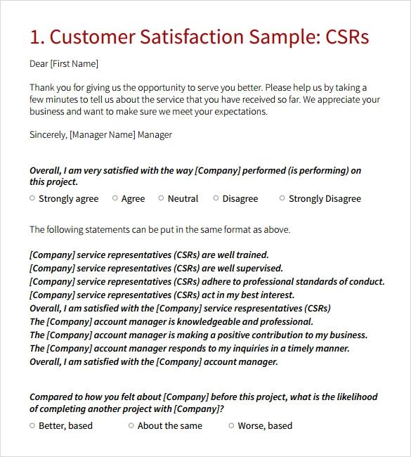 Customer Satisfaction Survey Questions Examples Free
