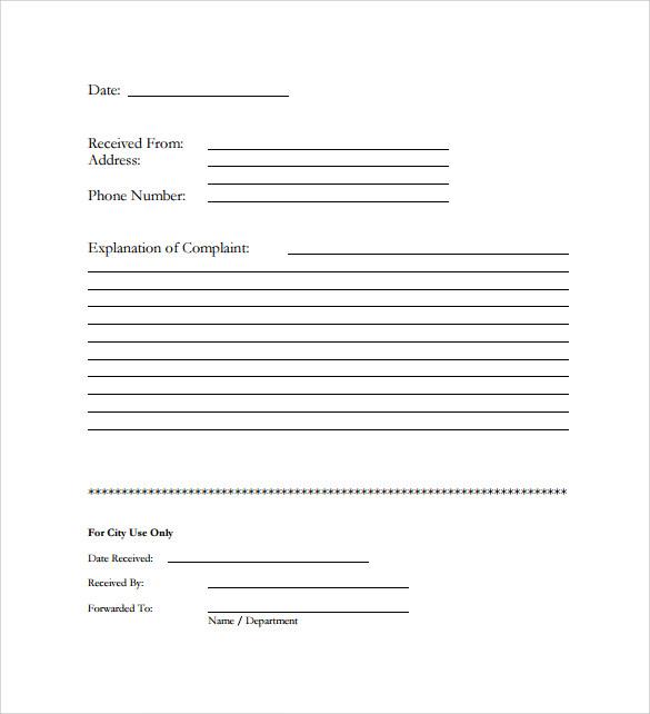 ... Sample Civil Complaint Form Complaint (Page 1, Federal Civil   Sample  Harassment Complaint Form ...  Customer Complaints Form Template