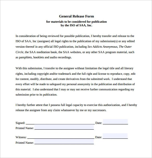 10 Sample General Release Forms To Download Sample Templates