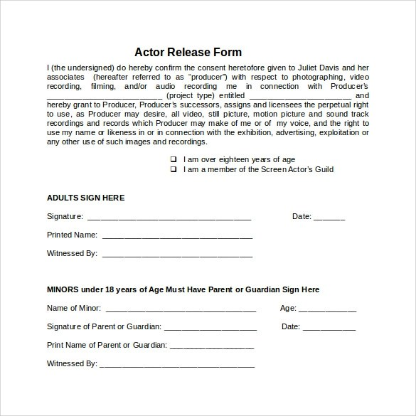 10 Sample Actor Release Forms To Download Sample Templates