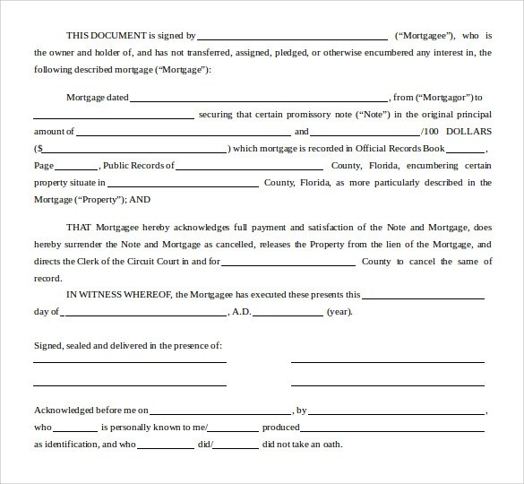 Sample Satisfaction Of Mortgage Form 8 Download Free Documents In PDF Word