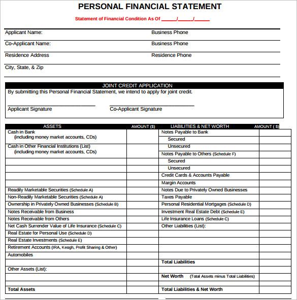 personal financial statement form sba