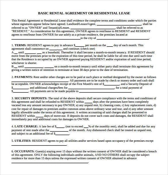 basic lease agreement template